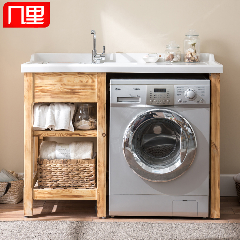 Exceptionnel Buy Wood Combination Of Solid Wood Balcony Wash Closet Laundry Tub Washing  Machine Cabinet With Washboard Partner Quartz Stone Tub Bathroom Cabinet In  Cheap ...