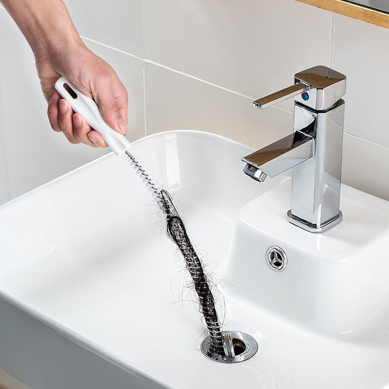KM家用管道疏通器手動通下水道工具頭髮堵塞清理刷管道刷子清潔棒