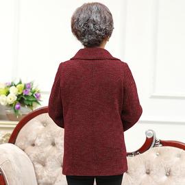 胖妈妈秋装外套加肥大码200斤中老年人女式上衣休闲羊毛呢子外套