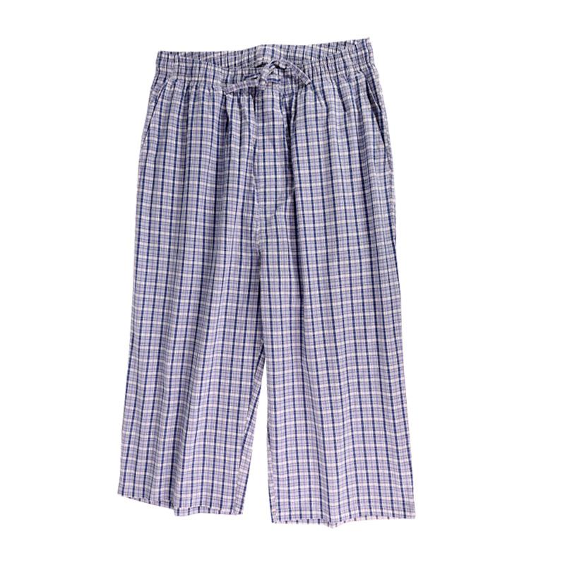 夏七分裤睡裤男薄款纯棉宽松家居短裤薄款休闲空调裤男士睡裤夏季