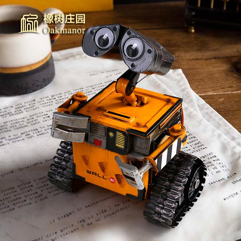 存钱罐创意简约现代 儿童零钱储物罐家用金属瓦力机器人摆件有趣