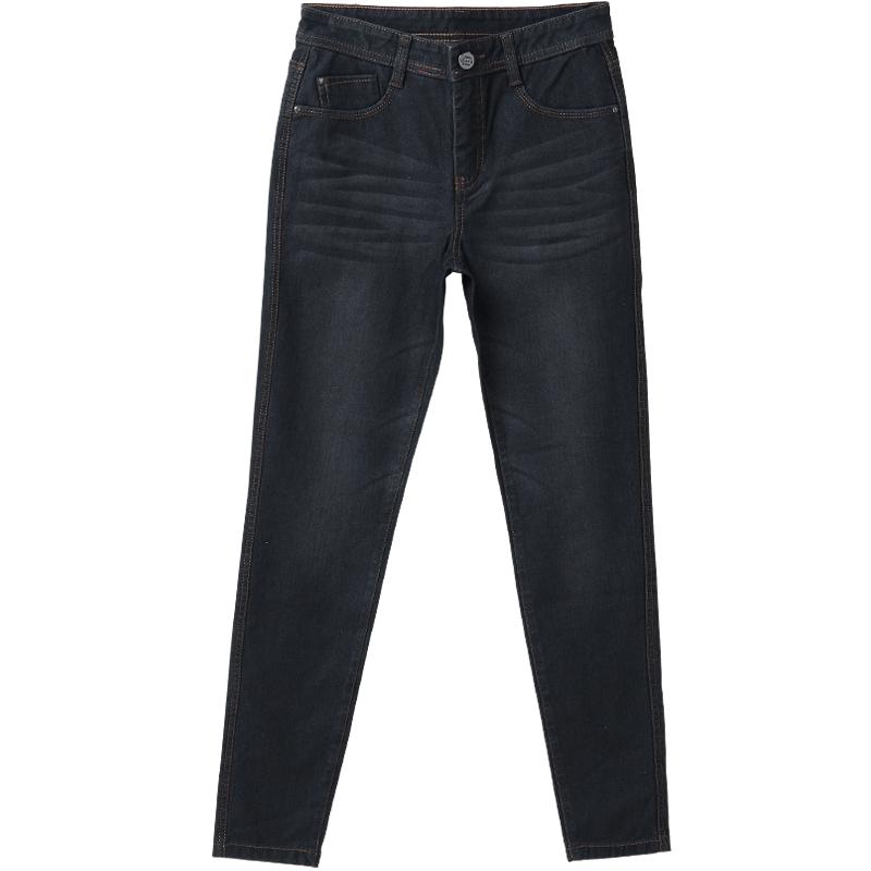 高腰加绒牛仔裤女裤冬季新款小脚裤子外穿黑色弹力铅笔裤加厚长裤