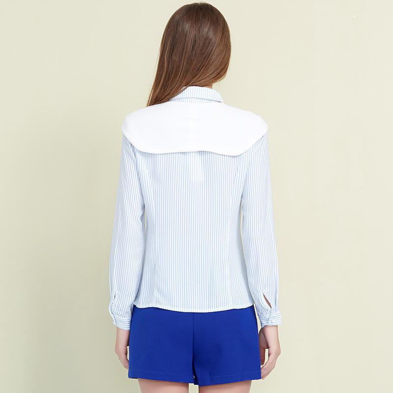 简朵女装春季新款单排扣长袖条纹女士衬衫百搭显瘦打底衫A61109主图