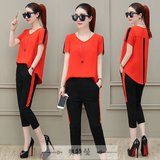 P24 large size women short-sleeved summer two-piece pant fat sister was thin sports and leisure suit