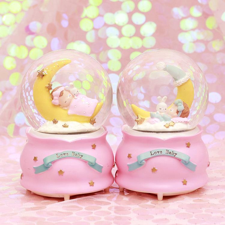 创意圣诞节情侣礼品雪花水晶球音乐盒八音盒女生闺蜜儿童生日礼物