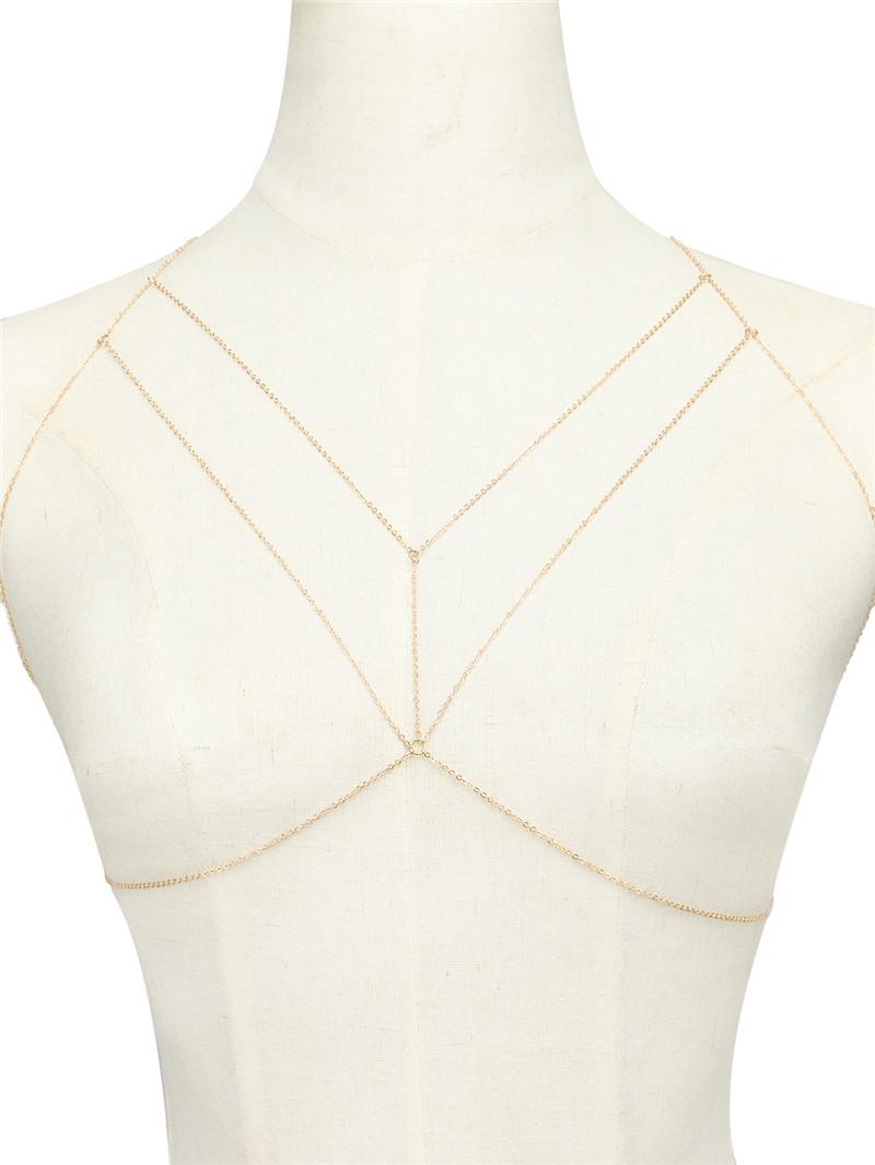 欧美时尚简约饰品胸链 女街拍几何裸链性感比基尼身体链内衣链条