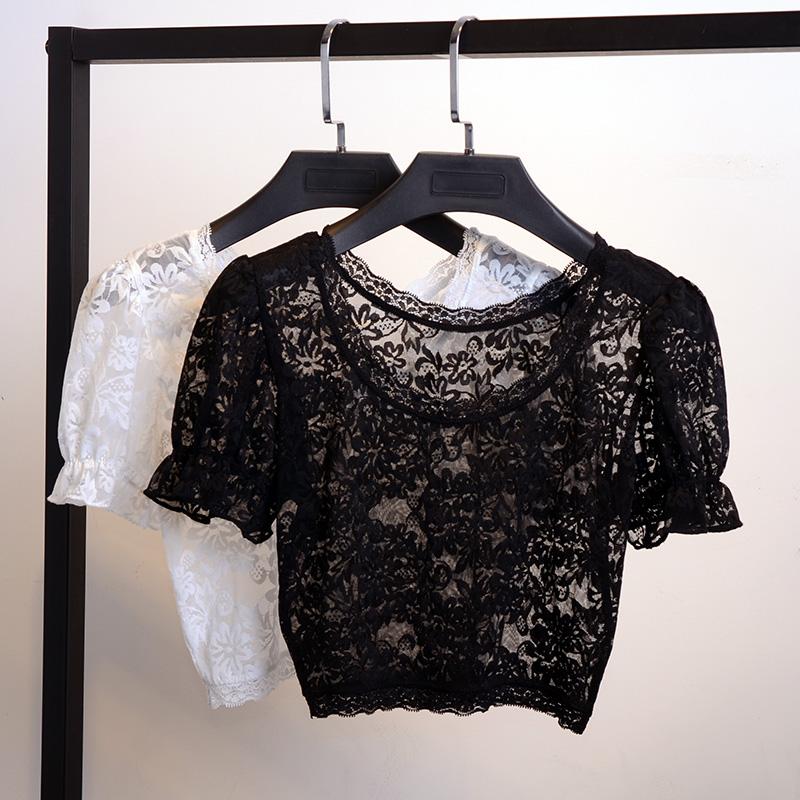 夏新款蕾絲半截打底衫女短款網紗內搭半身短袖t恤露臍性感上衣潮