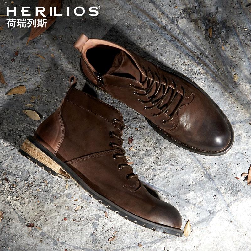荷瑞列斯馬丁靴靴子男英倫中幫復古休閒高幫皮鞋潮流夏季工裝軍靴