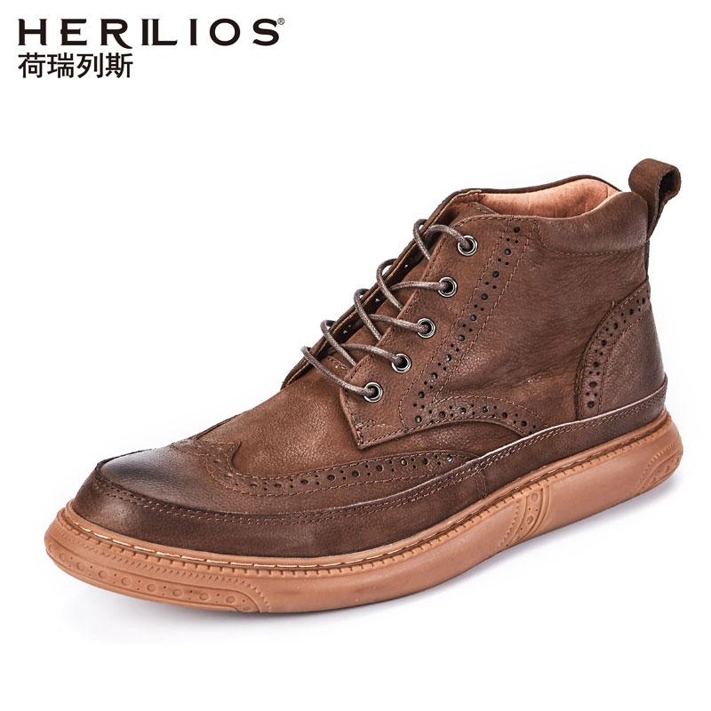 荷瑞列斯马丁靴靴子男夏季布洛克男鞋短靴高帮鞋潮工装休闲皮鞋男