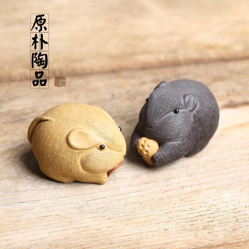 包郵宜興手工紫砂沙茶玩小雕塑金蟾蜍茶寵具抱錢招財老鼠擺件配件