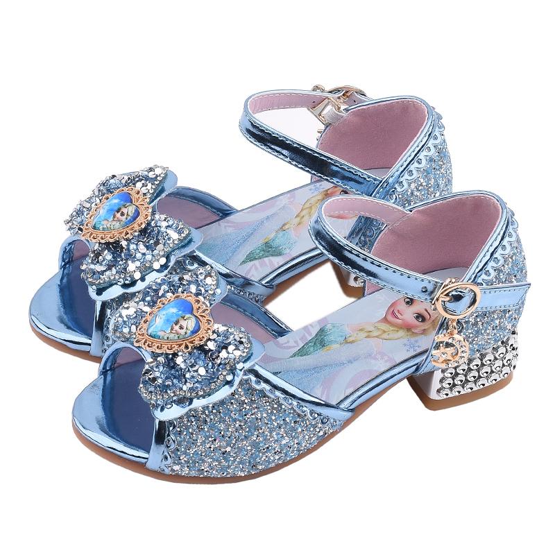 女童凉鞋冰雪奇缘爱莎公主鞋小女孩水晶鞋儿童高跟鞋走秀表演鞋