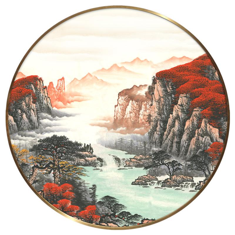 新中式山水畫客廳國畫靠山招財大氣圓形裝飾畫玄關走廊床頭掛畫
