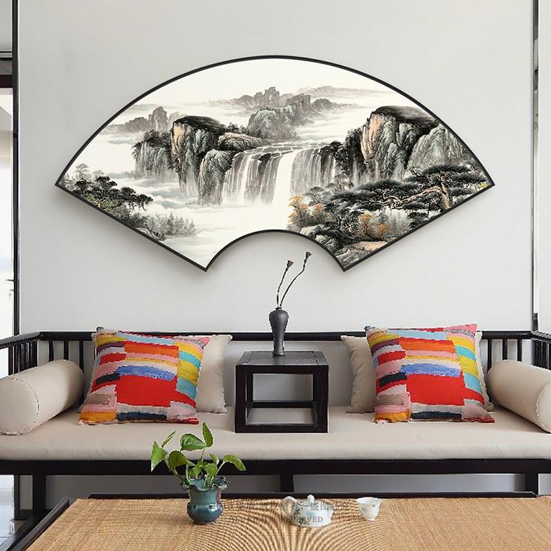 新中式扇形山水画客厅茶室装饰画大气招财国画沙发背景墙卧室挂画