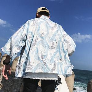 夏季浮世绘仙鹤防晒衬衫复古汉服男薄款七分袖和服开衫道袍外套男