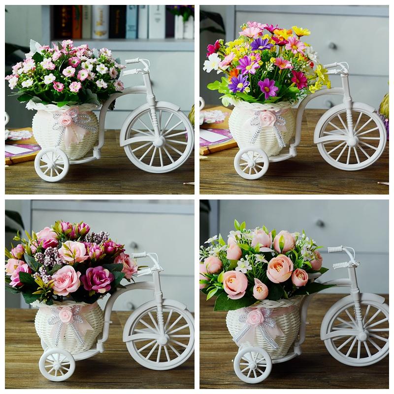 客廳絹花乾花束塑料假花模擬花車套裝飾品家居盆栽小擺件室內擺設