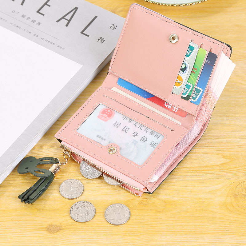 新款时尚超薄简约两折叠零钱包卡包潮 2019 钱包女短款学生韩版可爱