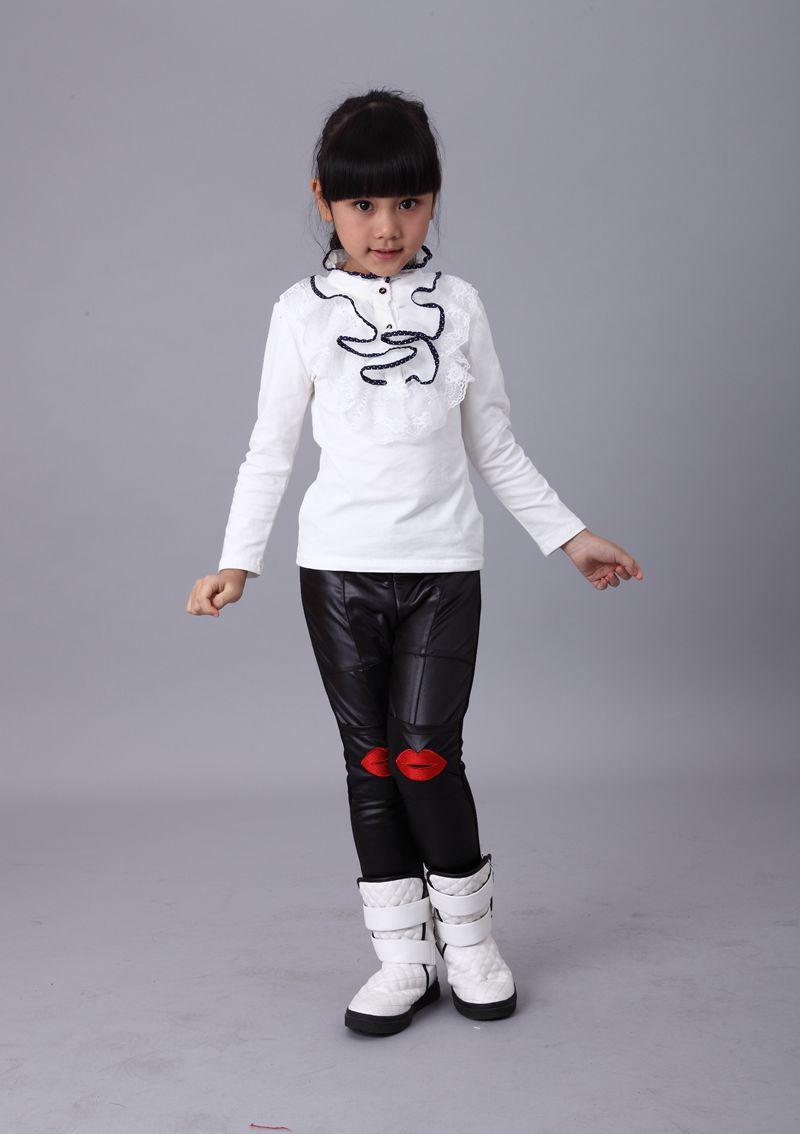 女童秋冬款高领儿童装公主蕾丝大花边纯棉长袖T恤加绒加厚打底衫