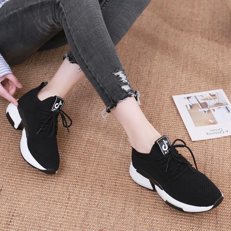 春季新款 2019 休闲跑步运动鞋女轻便飞织袜鞋低帮网面透气百搭韩版