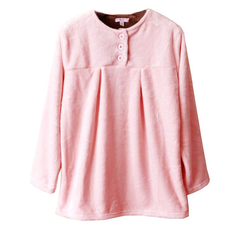秋冬男女简约圆领纯色法兰绒长袖保暖加厚睡衣珊瑚绒家居服上衣