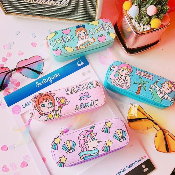 日系ins潮可爱眼镜盒女少女心创意个性便携学生简约折叠防压卡通
