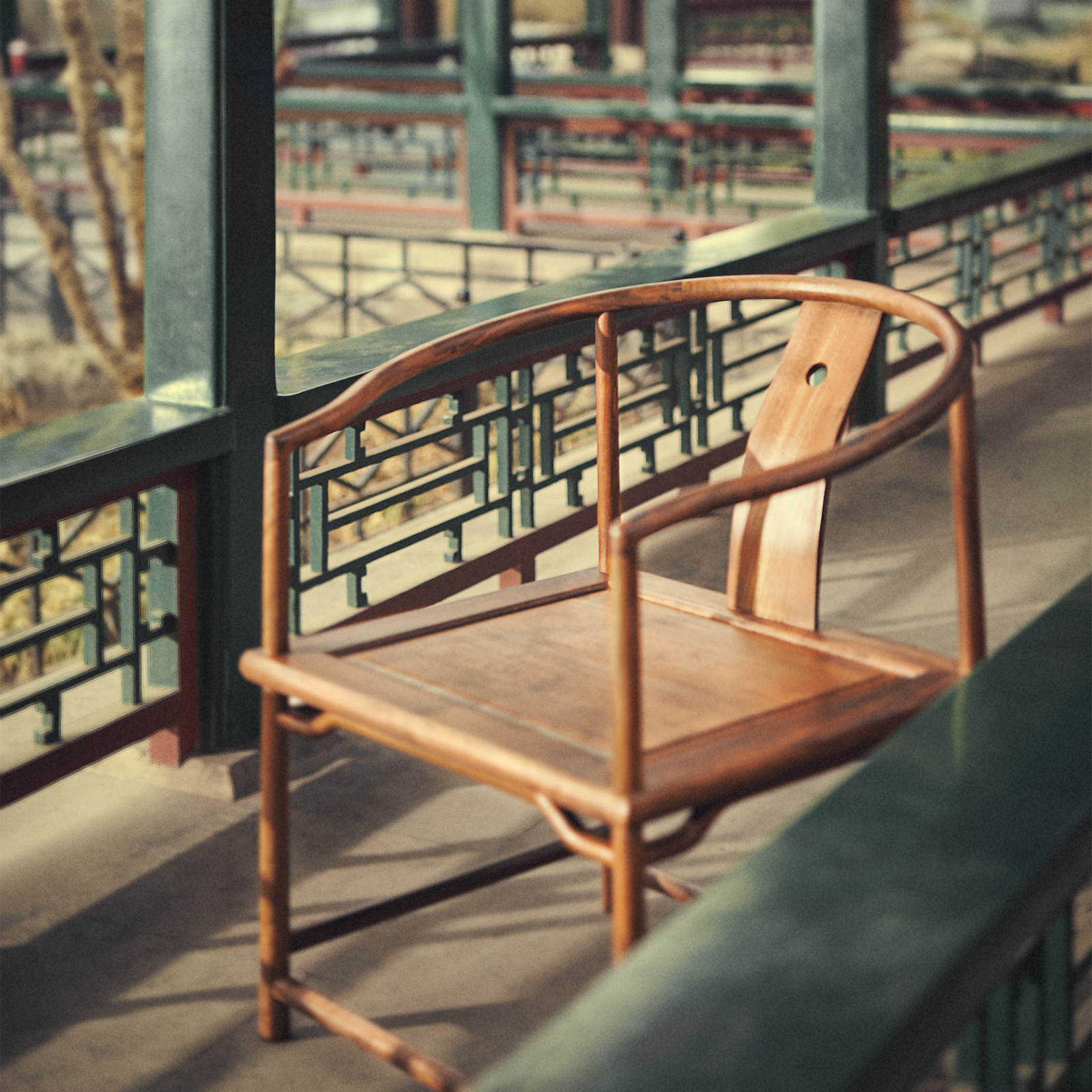 璞木禅意新中式圈椅休闲椅免漆老榆木实木复古椅子黑胡桃仿古家具