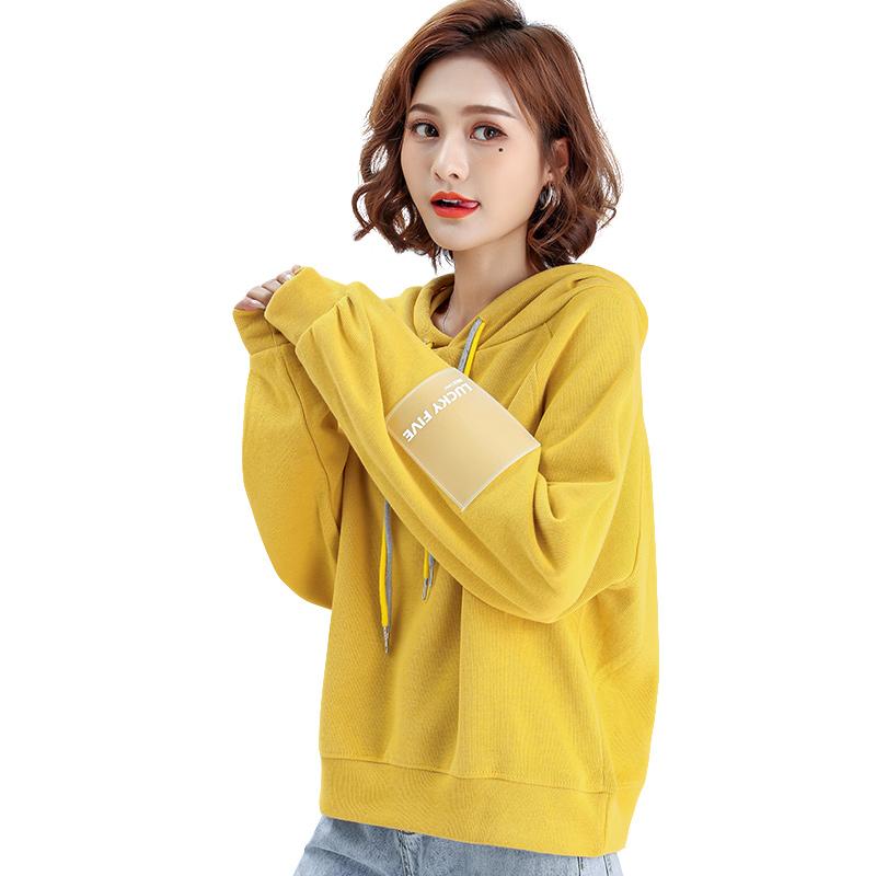 新款女秋冬韩版套头薄款长袖宽松学生上衣 2019 米子旗加绒加厚卫衣