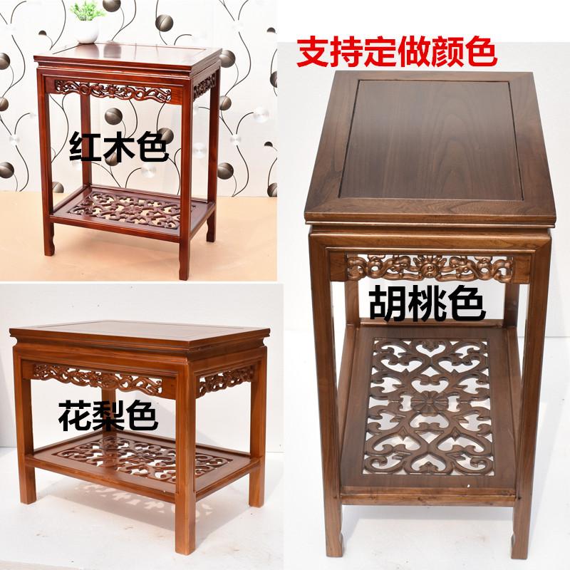 简约现代实木花架鱼缸架子榆木花几盆景奇石桌客厅地面木质置物架