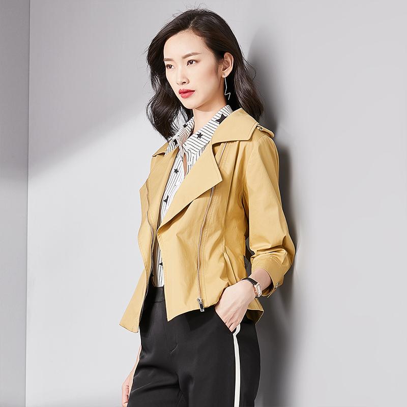 秋季七分袖薄款收腰修身外套 2018 梵希蔓矮个子风衣 元新品 198