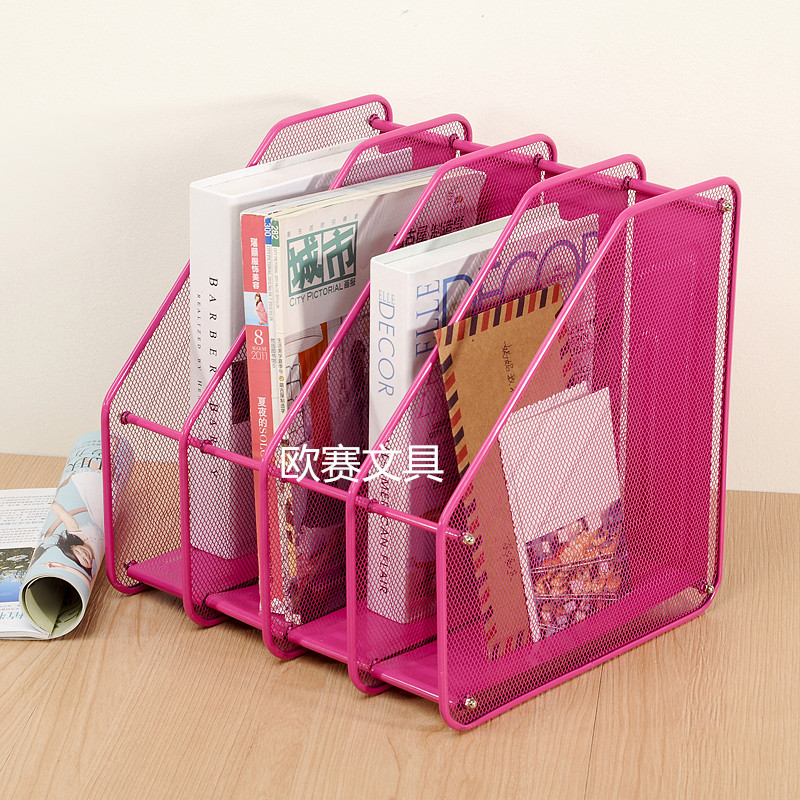 办公用品多层金属铁网文件架桌面整理夹学生用资料收纳盒文件框子