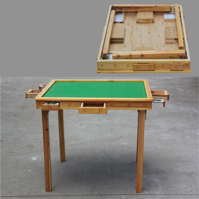 包邮可折叠简易麻将桌 实木手动家用象棋桌两用餐桌仿红木麻将台