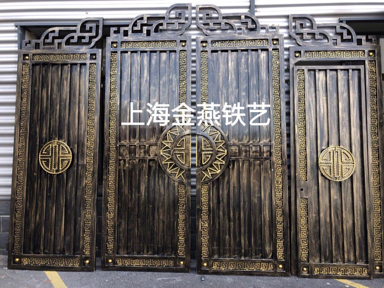 上海铁艺中式大门 欧式别墅门 乡村庭院门四开折叠电动平移双开门