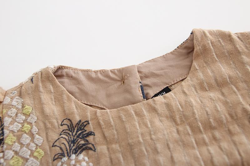新品童装萌可爱高档立体刺绣水果娃娃衫女童舒适百搭短袖T恤上衣