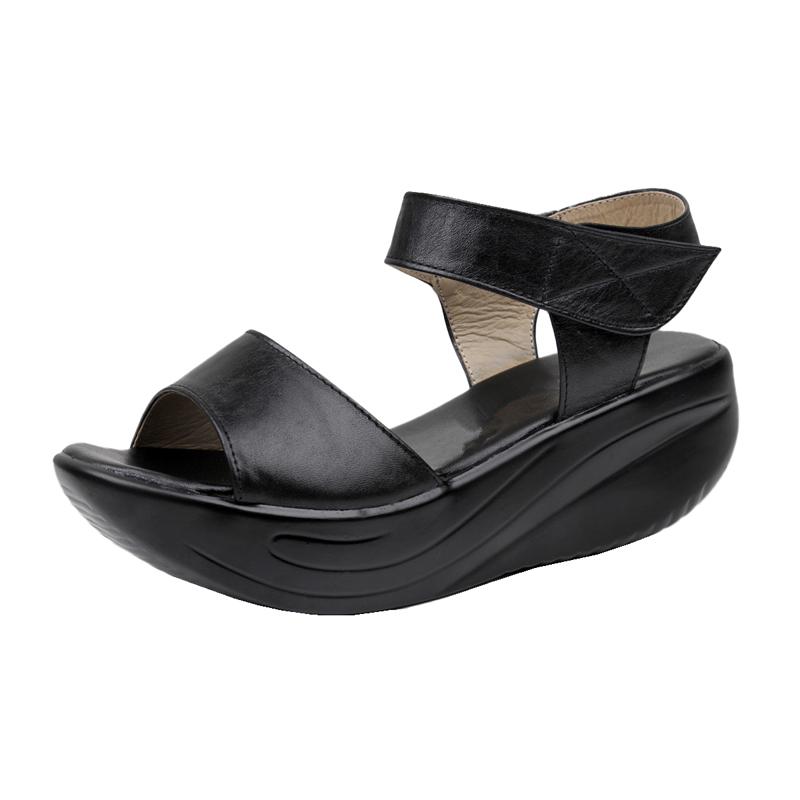 特价真皮女凉鞋坡跟厚底松糕防滑软底皮凉鞋平底中跟摇摇鞋妈妈鞋