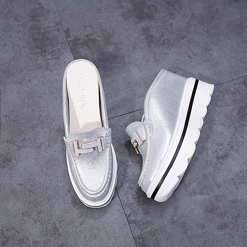 2019韩版春夏季新款松糕厚底鞋包头内增高凉拖鞋半拖女高跟拖鞋潮