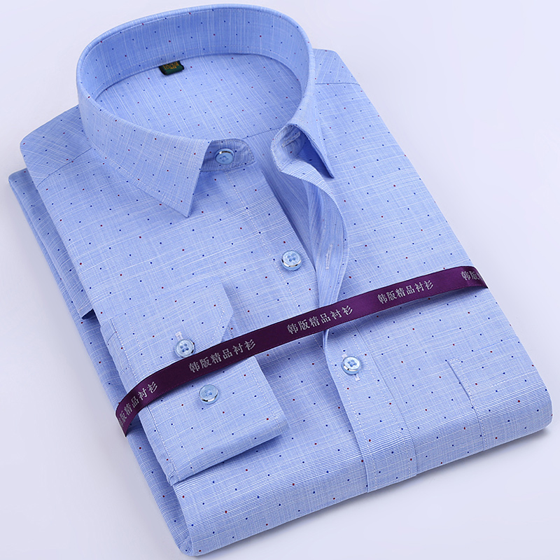 春秋季常规男装夏季中年男士长袖衬衫棉寸衫爸爸装中老年衬衣老人