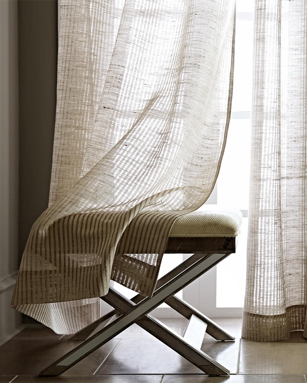 天然純亞麻 條紋 美式鄉村北歐日式 現代簡約 法式窗紗