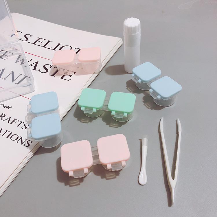 新款按压式纯色多副装近视隐形眼镜伴侣盒简约美瞳盒护理盒双联盒