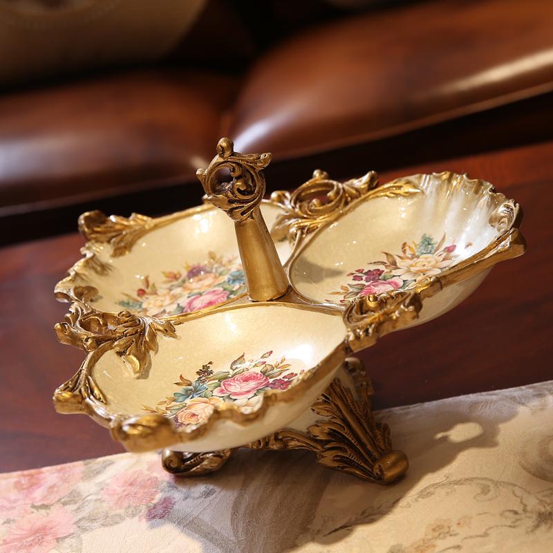 催丝塔娜系列 欧式复古家居装饰三格果盘 实用水果盘摆件乔迁礼品
