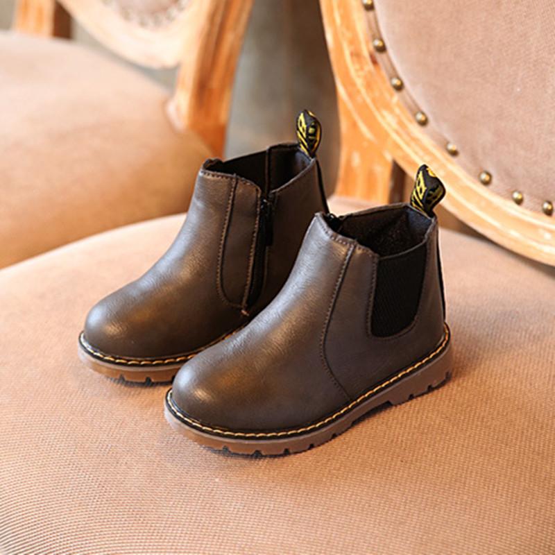 儿童鞋韩版女童马丁靴2018秋冬新款男童低筒短靴女童皮靴复古单靴