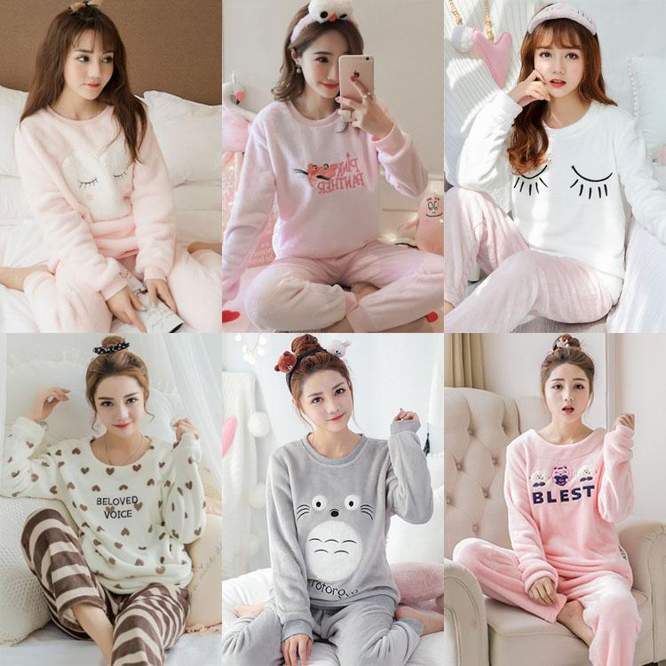 冬季女士加厚珊瑚绒长袖睡衣两件套装休闲韩版法兰绒套头女家居服