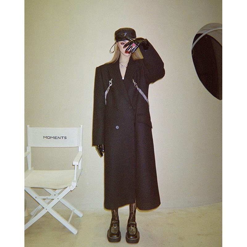 年新款冬季黑色双面呢子赫本风中长款毛呢外套 2020 大衣女 FFSTUDIO