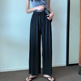 网红垂感阔腿裤夏季2020新款韩版高腰休闲裤女宽松百搭直筒阔腿裤