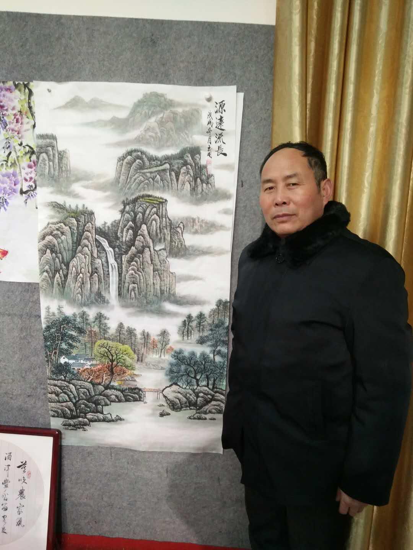 國寶級大師現場作畫山水手繪真跡國畫定制裝飾畫客廳靠山直播專拍