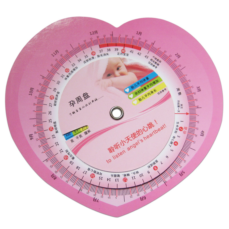 包邮 孕妇孕期转盘孕周盘表预产周期推算怀孕转盘孕期推算盘
