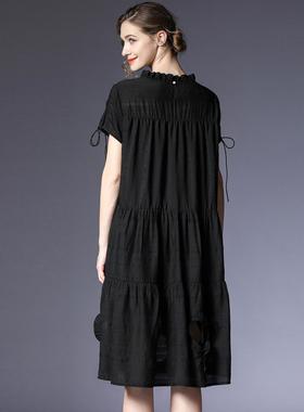 咫尺2021夏装新款宽松短袖荷叶领欧美连衣裙女装中长裙抽褶裙子夏