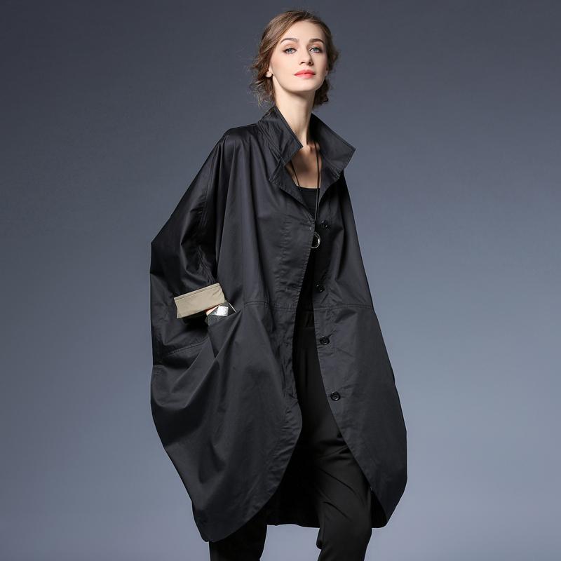 咫尺女装宽松中长款立领纽扣风衣大码休闲显瘦外套女2021春装新款