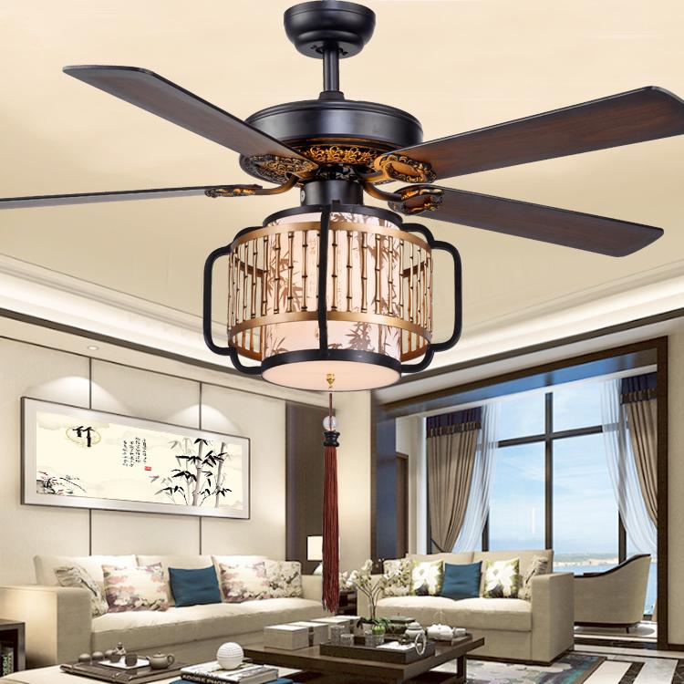 新中式吊扇燈 LED36W變光餐廳風扇燈客廳臥室電風扇燈木葉吊扇