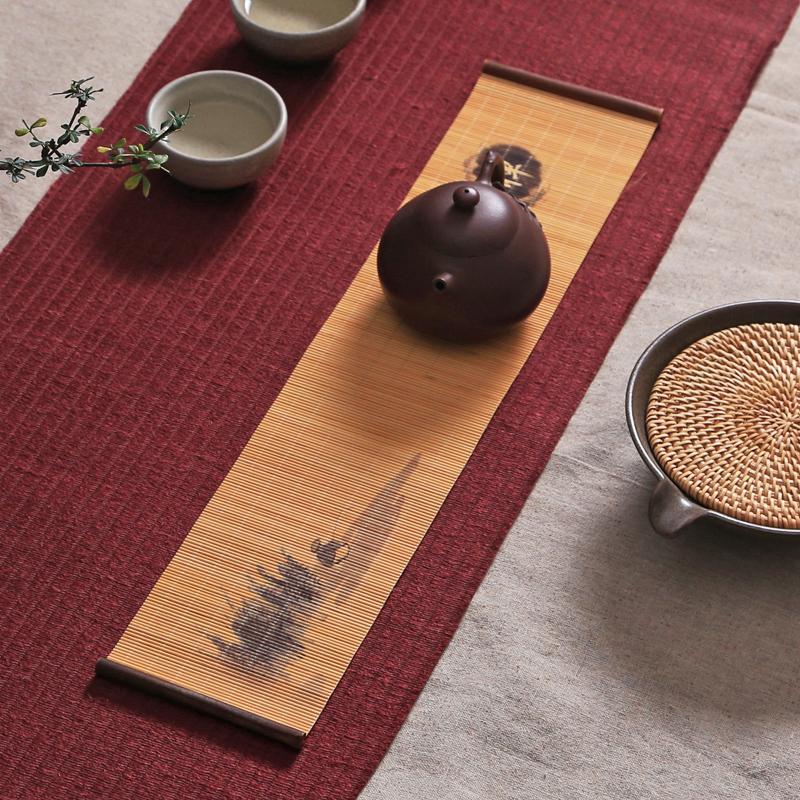 印花竹絲小茶席 功夫茶道幹泡竹茶簾 禪意茶盤墊竹蓆隔熱茶具杯墊