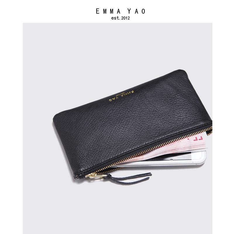 拉链手拿包软牛皮 超薄钱包 时尚简洁韩版女式真皮手机包 emmayao