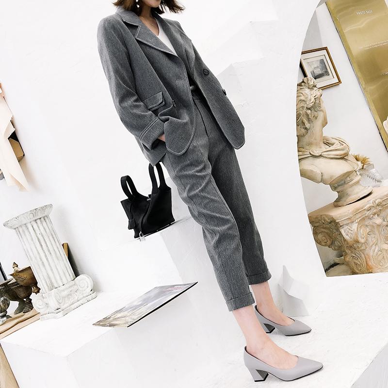 K姐自制 灰常喜欢 复古英伦双排扣修身显瘦西装小脚西服裤套装女